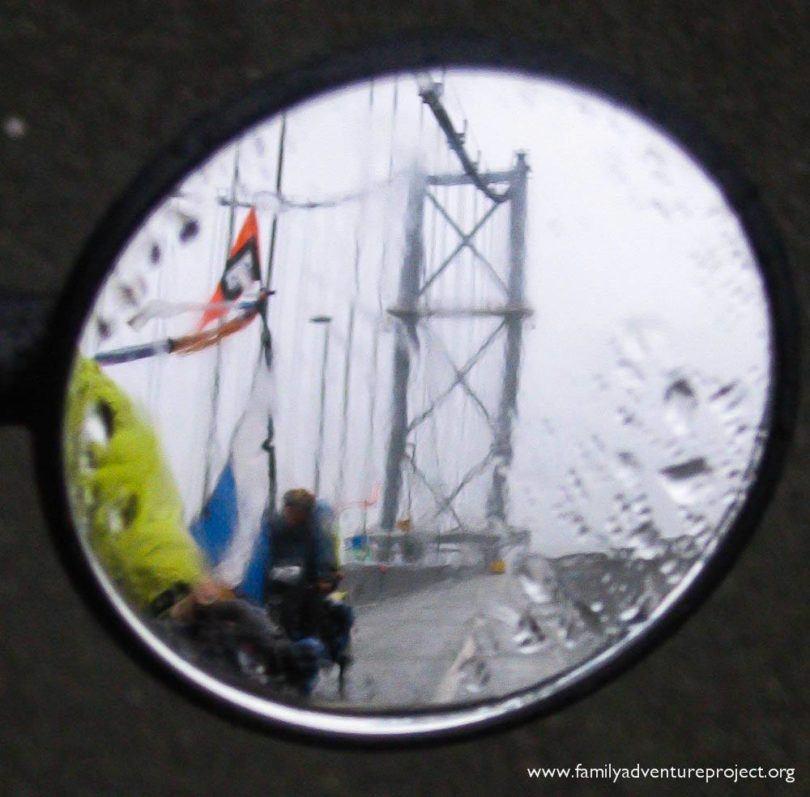 Rain in my rear view mirror. Rain everywhere.