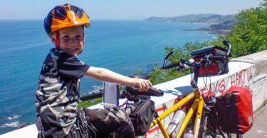 Cameron riding tandem on North Coast of Spain