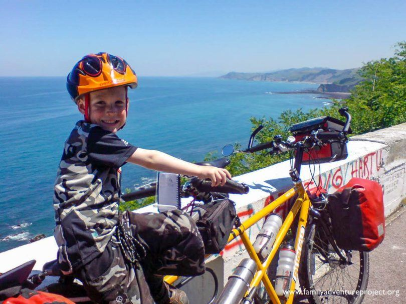 Cameron riding tandem on North Coast of Spain