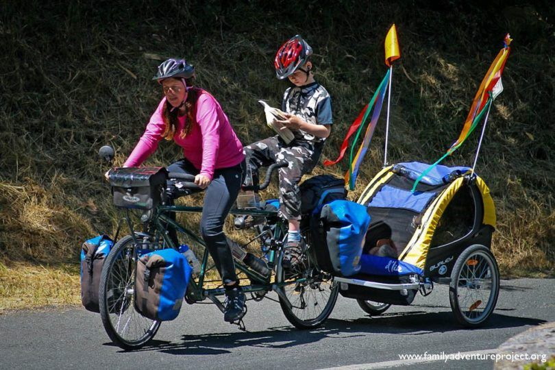 Cycling a tandem while reading