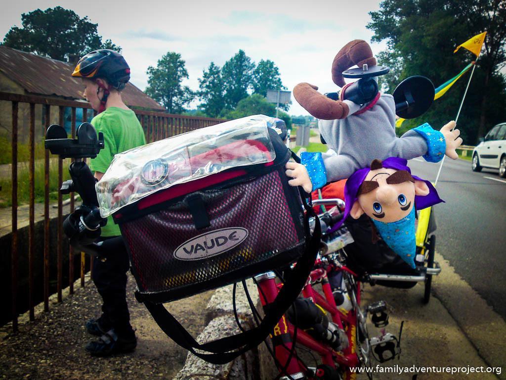 Ali Shazam Toy on Bike Handlebars while Cycle Touring in the Bal