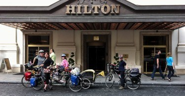 Family on Bikes Arrives at Budapest Hilton