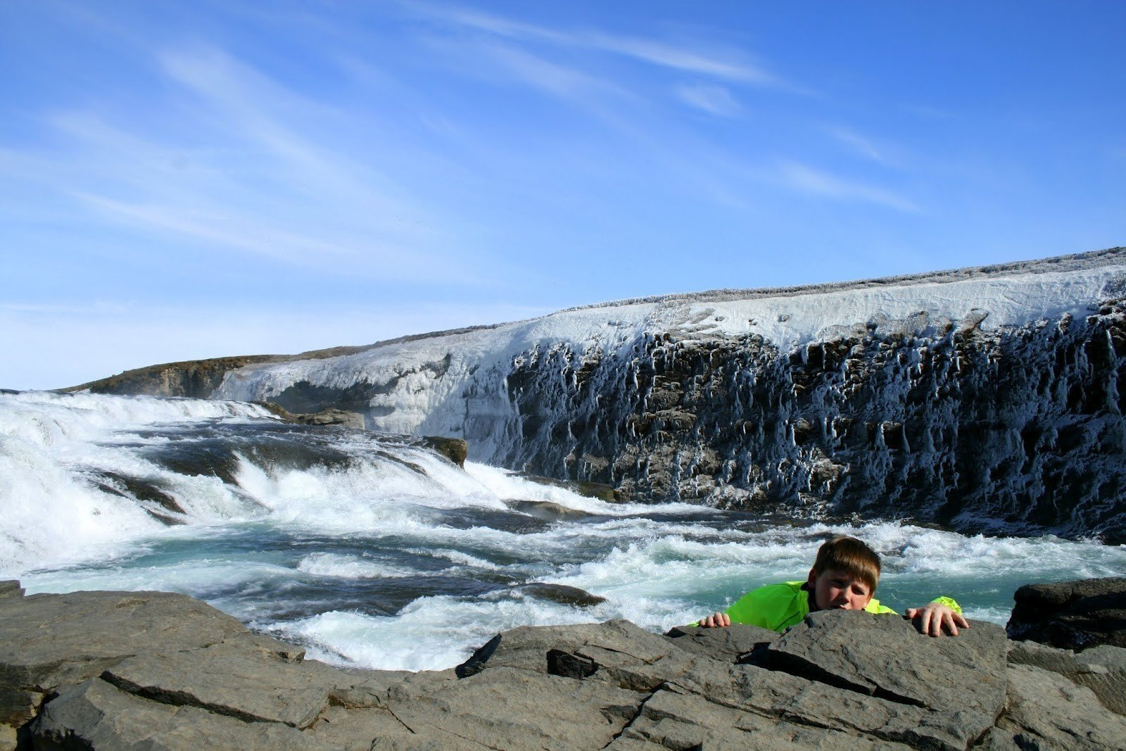The top section of the Gullfoss Waterfall