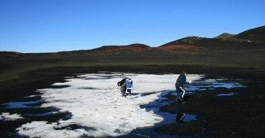 Volcanic Ash and snow on way to Askja