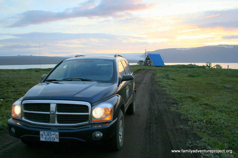 4WD leaving hut near Lake Hvitarvatn after a night's camping on one of our Iceland Adventures