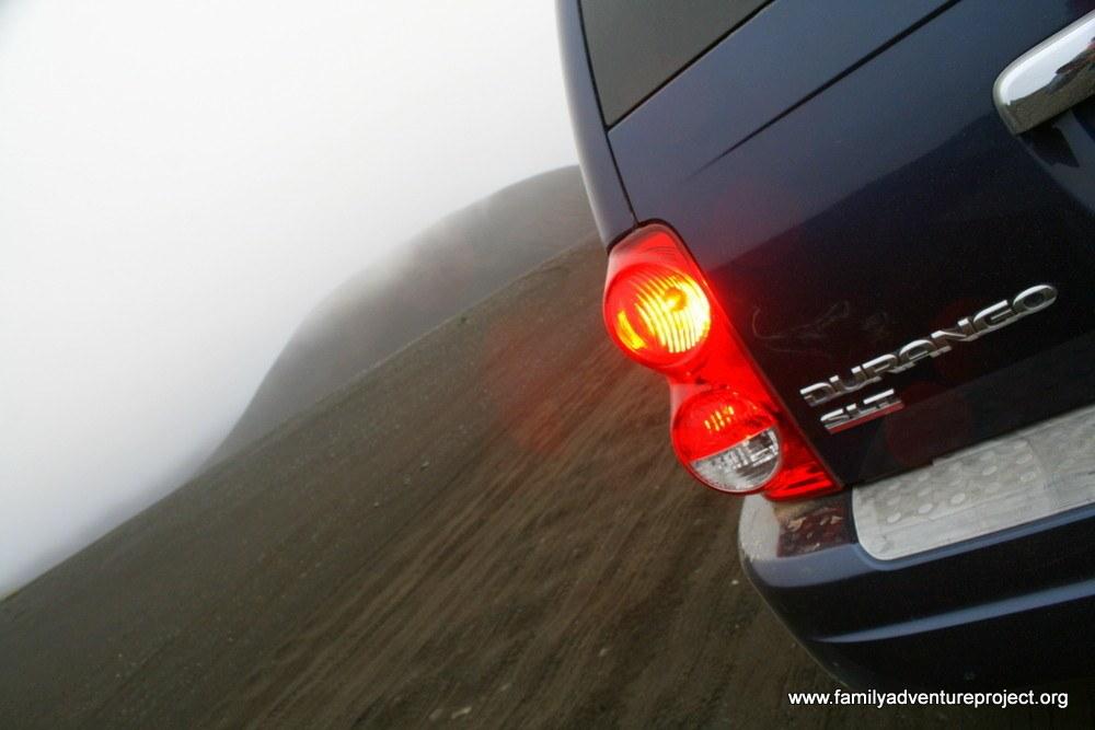 4WD Dodge on Volcanic Landscape, Fjallaback Route