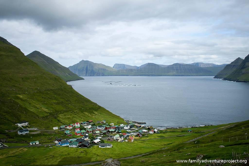 Looking down to tiny Funningur on Esturoy, Faroe Islands