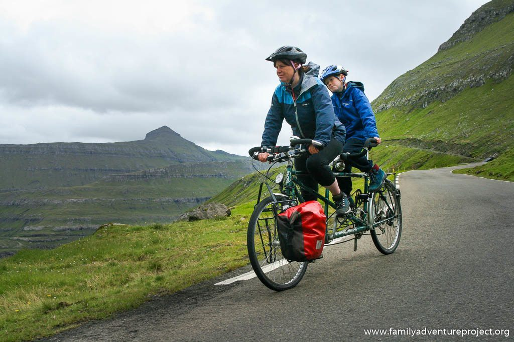 Cycling a tandem down to Funningur in Faroe Islands
