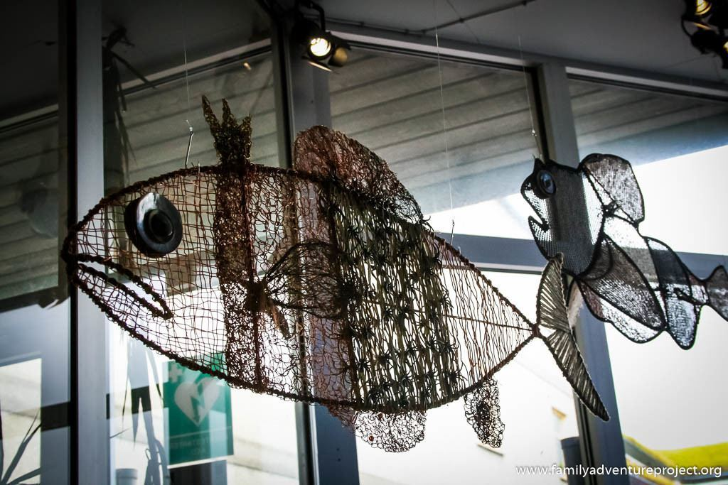 Wire frame and knitted fish by Astrid Andreasen