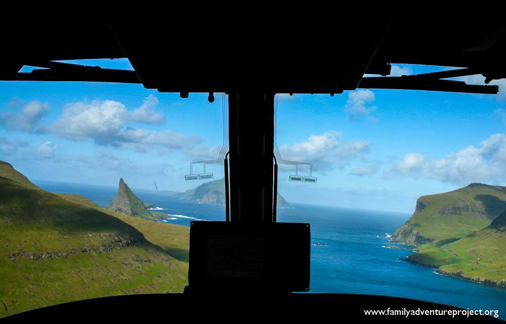 Helicopter over the Faroe Islands