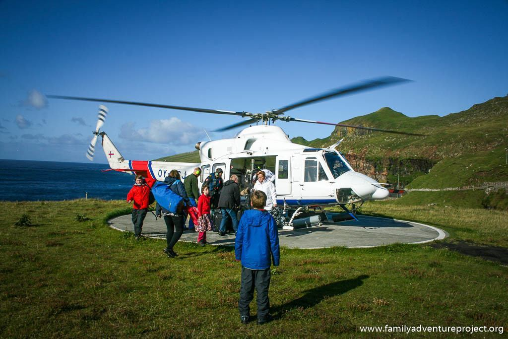 Catching a helicopter on Mykines, Faroe Islands