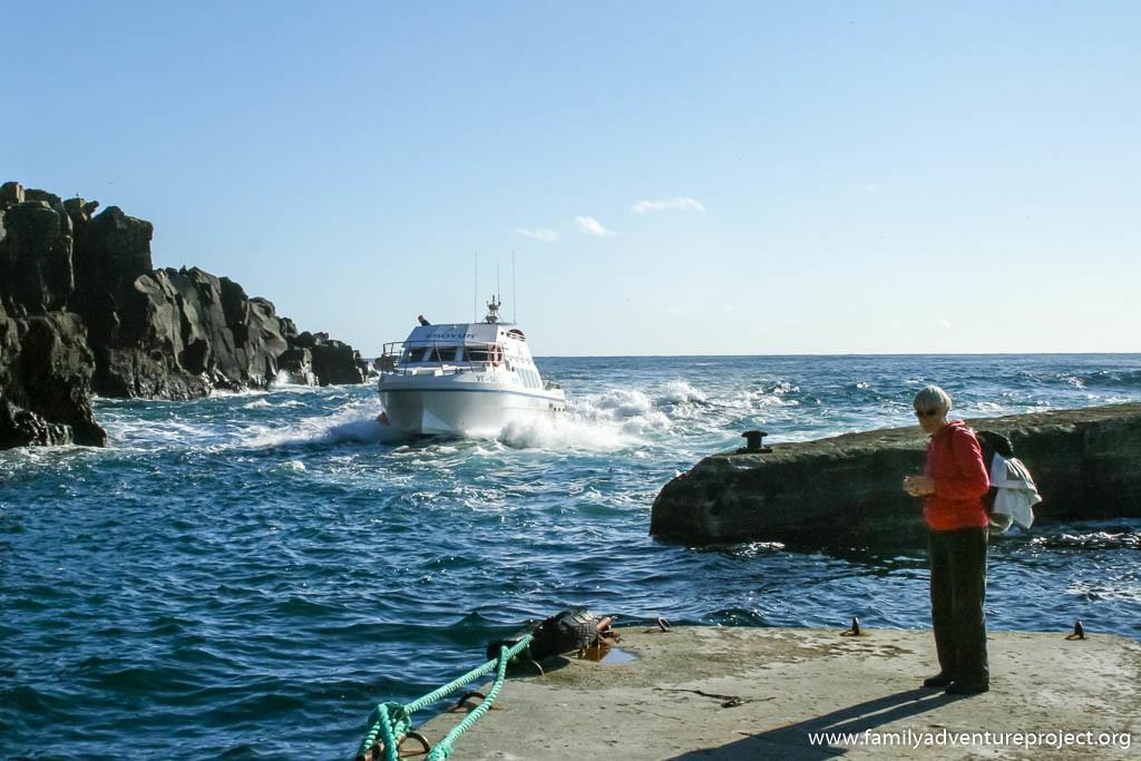 Boat arriving on Mykines, Faroe Islands