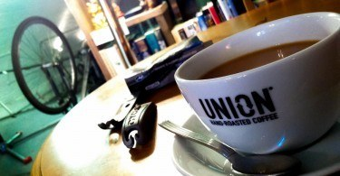 Cup of tea in bike cafe