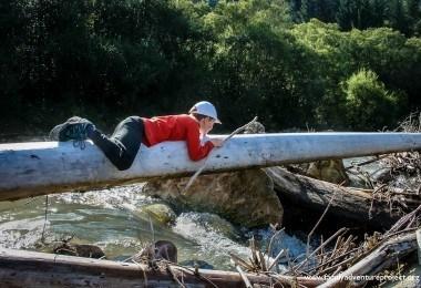 Boy Crossing River Slovakia
