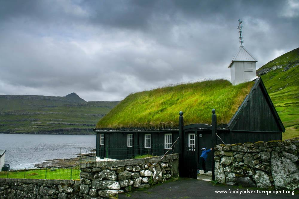 Grass Roofed Church Funningur, Faroe Islands