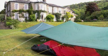 Tarps in the Garden at Halecat House