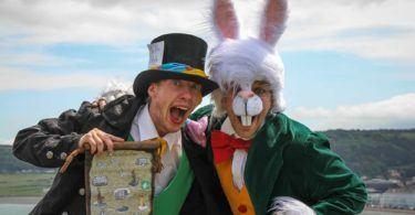 Mad Hatter and Rabbit in LLandudno Alice in Wonderland Tour