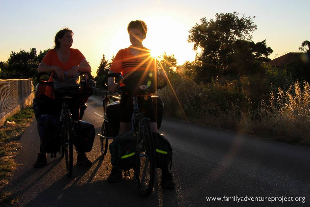 Cycling in the sunset on Hvar