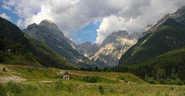 Looking up to Mangart, Julian Alps, Slovenia