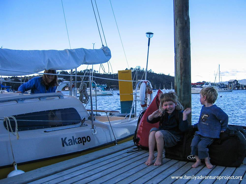 Excited kids getting ready to go sailing in the Bay of Islands, New Zealand