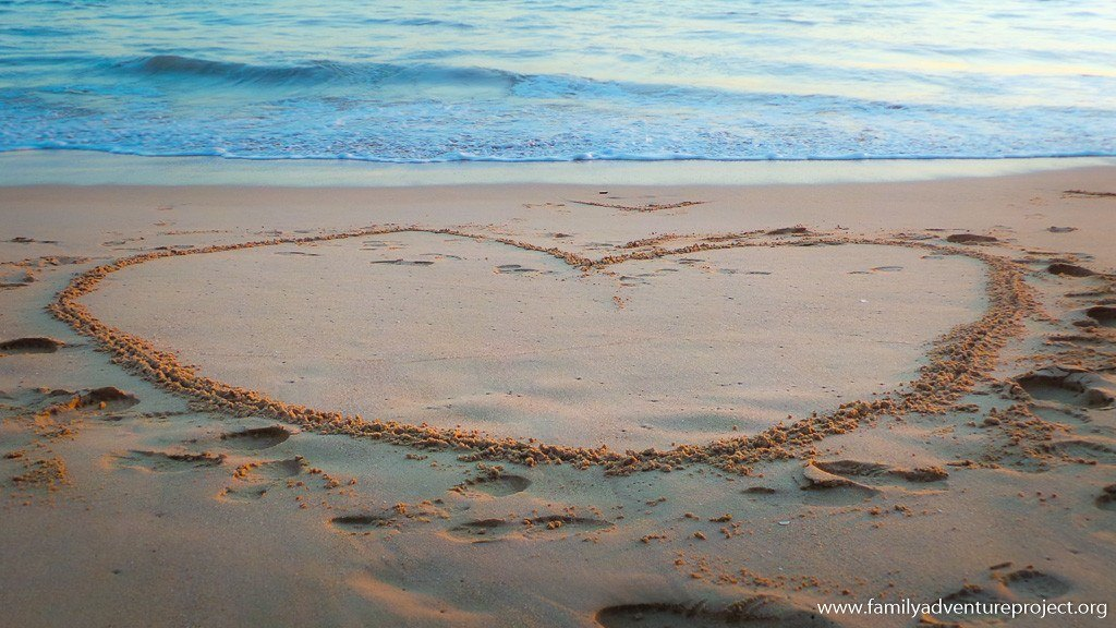 Valentines Activities - Etch a heart on a sandy beach