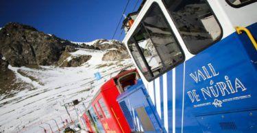 The train to Vall de Nuria, Catalonia, Spain. In Winter