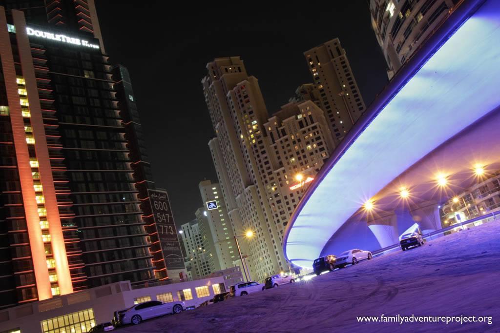 Dubai Jumeirah Beach and Marina District at Night