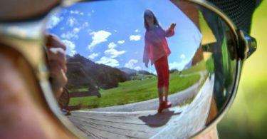 Reflections of Girl and South Tyrol Alpine Landscape