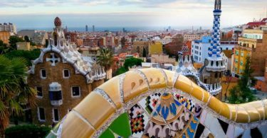 Looking out over Barcelona from Parc Guell