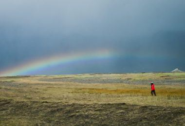 Kids exploring open space in Iceland