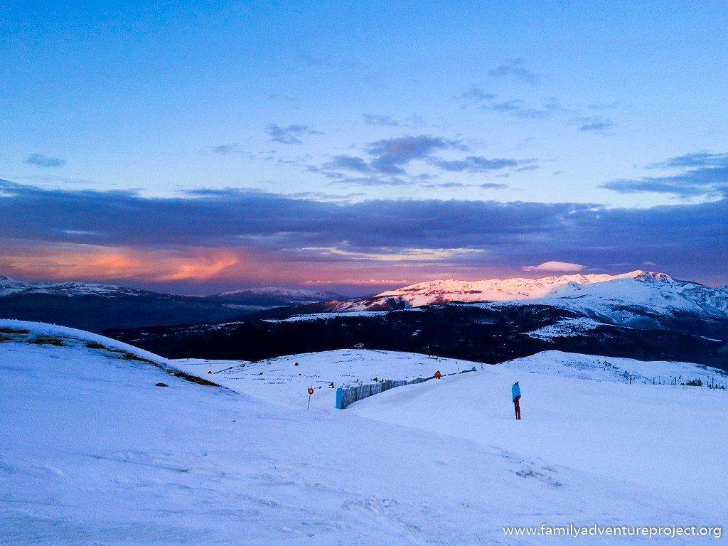 Views from ski slopes of La Molina at Sunset