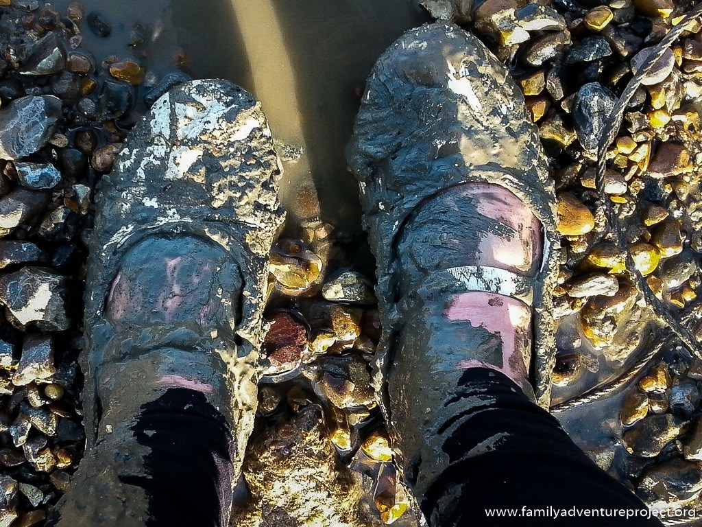Shoes stuck in the mud on The RIver Thames