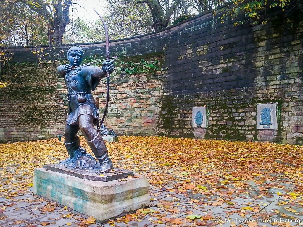 Statue of Robin Hood Archer at Nottingham Castle