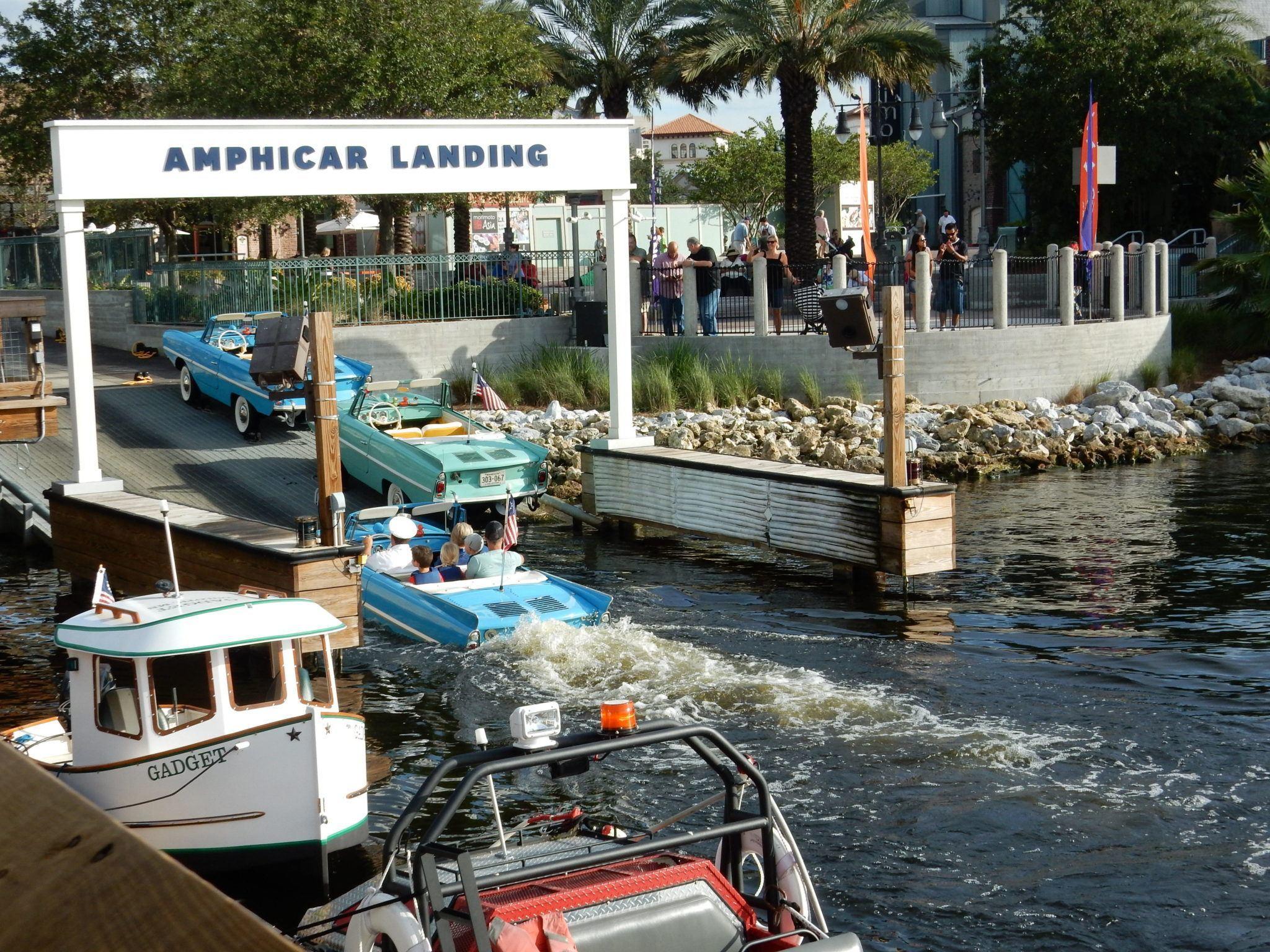 Amphicars at Boathouse Restaurant. Image by Ella Buchan