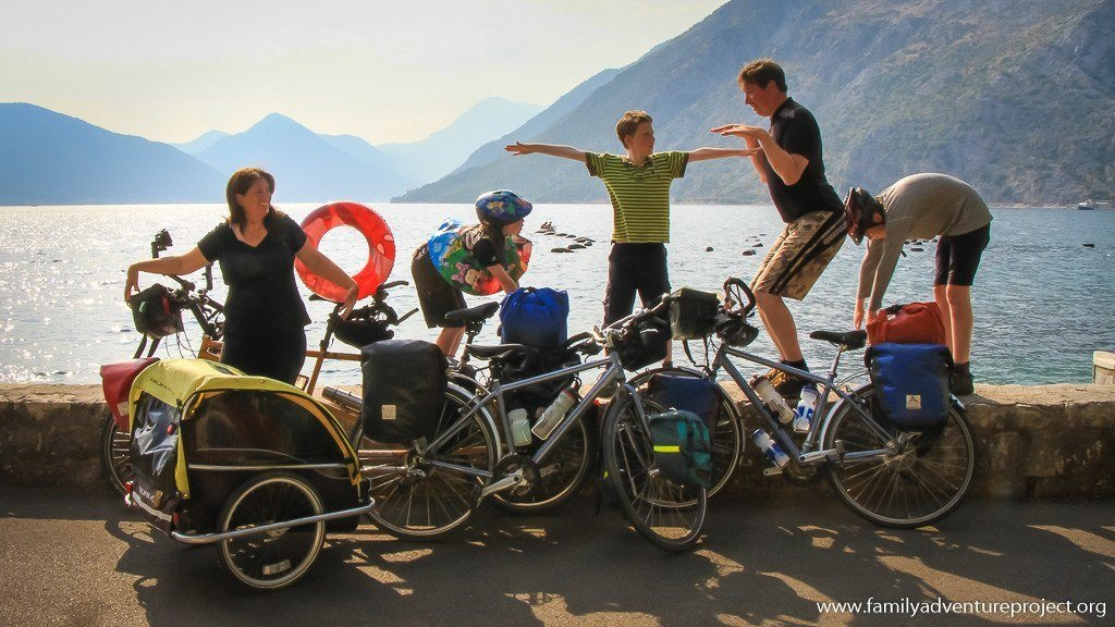 Family Cycling on Bay of Kotor, Montenegro