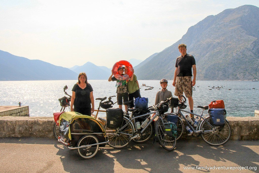 Family cycling in Montenegro
