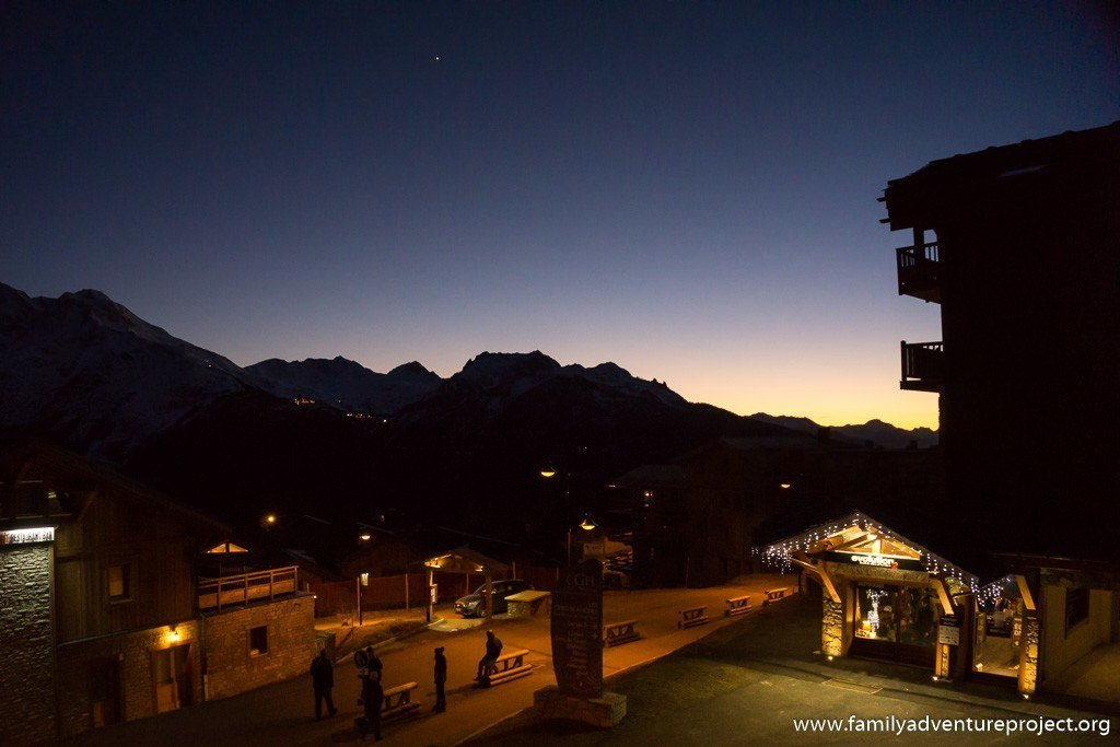 Les Eucherts, above La Rosiere at night