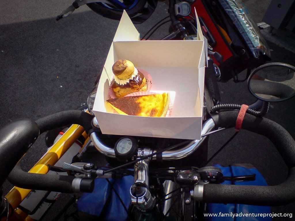 Pastries on a bicycle