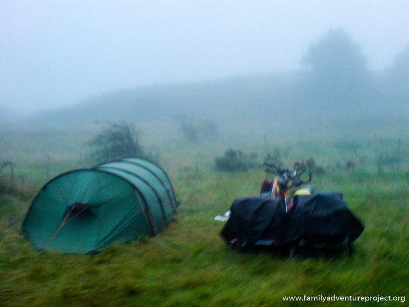 Camping in the mist beneath the Col de Ibaneta