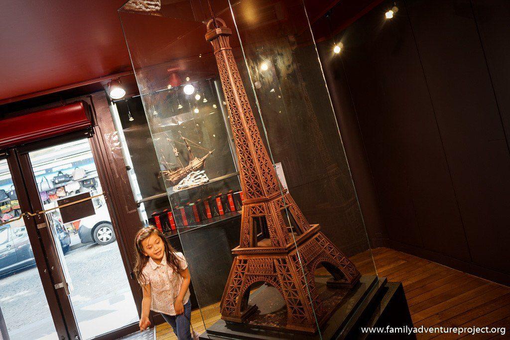 Chocolate Eiffel Tower in Petit Musee de Chocolat Paris