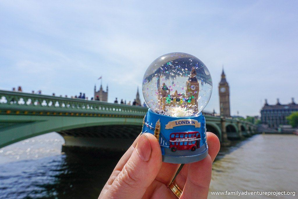 Big Ben and Houses of Parliament, London through a snowglobe