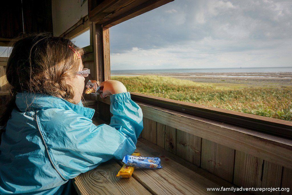Enjoying a tracker bar in the hide at South Walney Nature Reserve