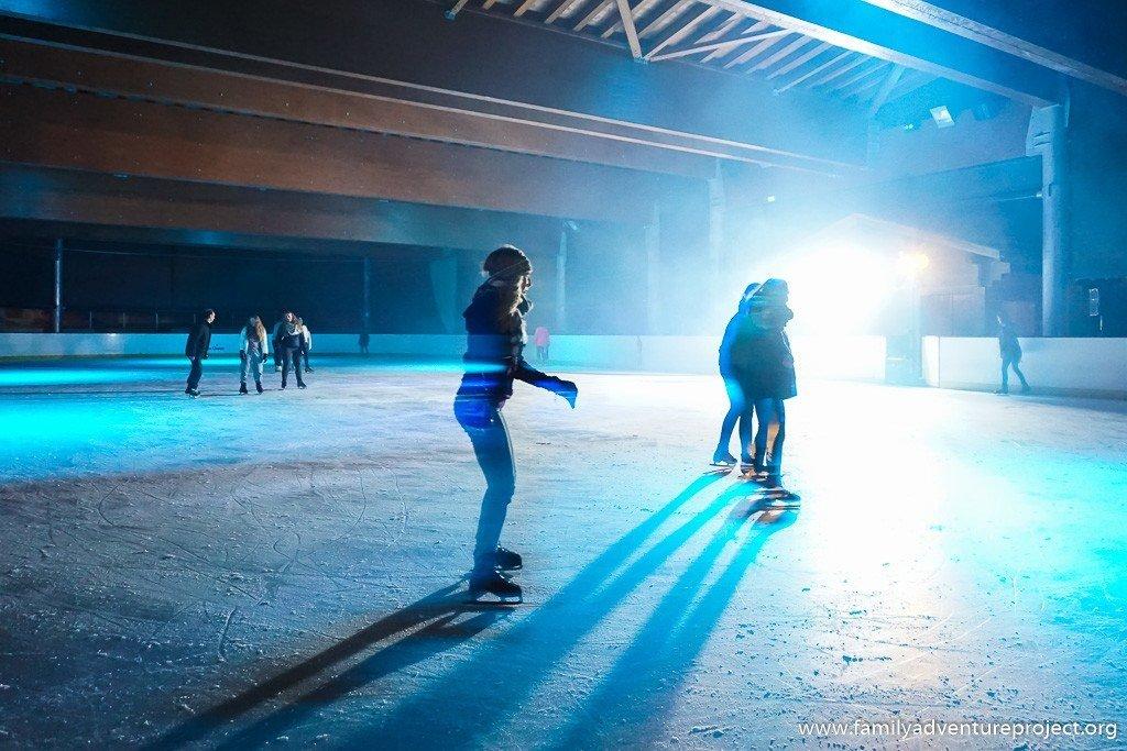 Ice Rink Disco at the Patinoire in La Clusaz, Haute Savoie, France