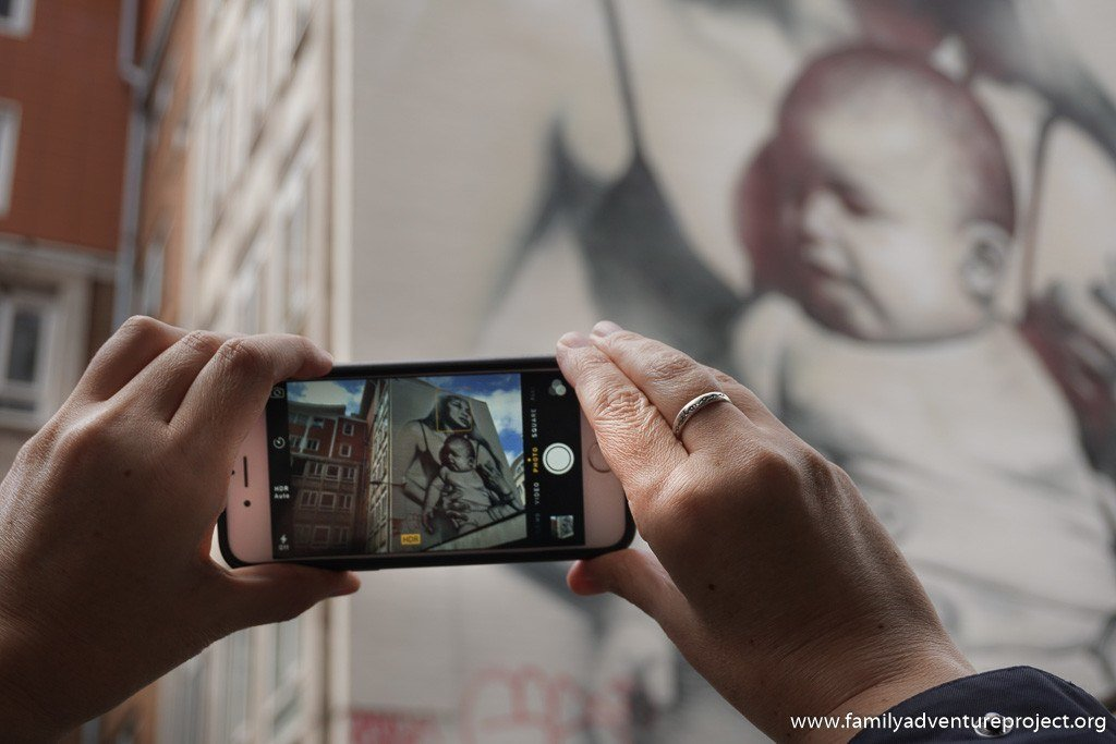 Taking Photographs of Street Art 'Clothed with the sun' by El Mac in Bristol