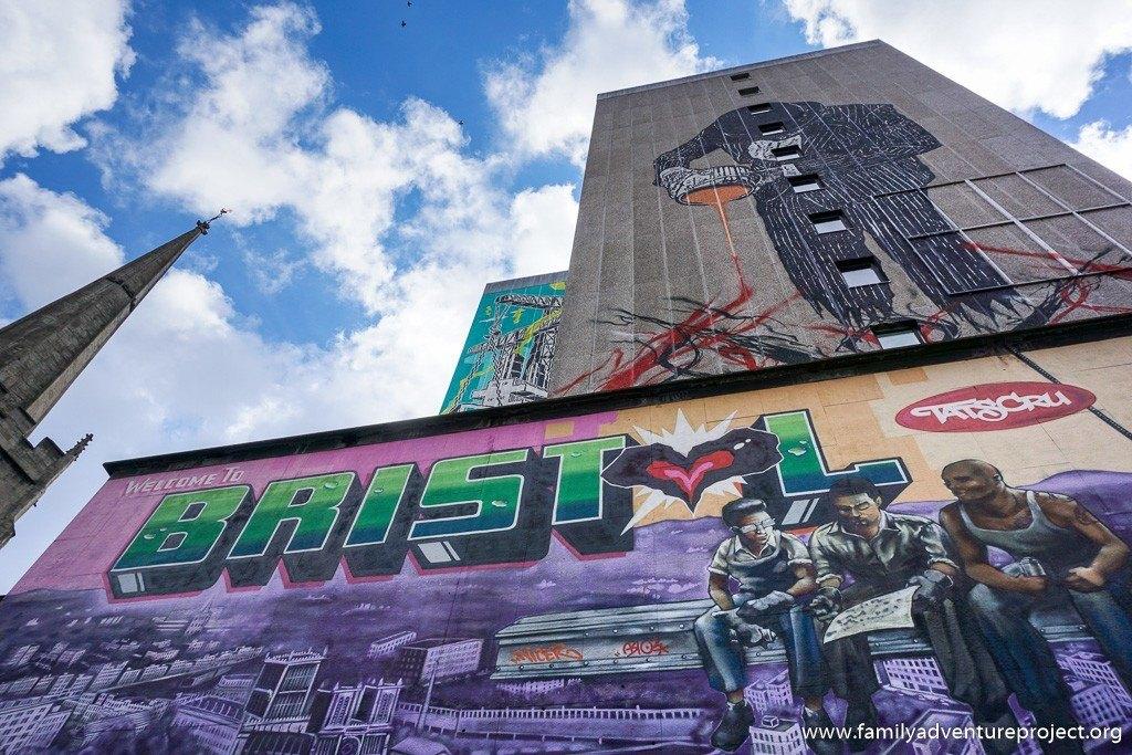 Street Art on Nelson Street Bristol. Top - Vandal by Nick Walker. Lower - Bristol by Tatscru