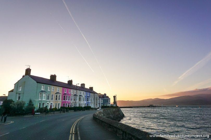Colourful terraced houses in Beaumaris at sunrise
