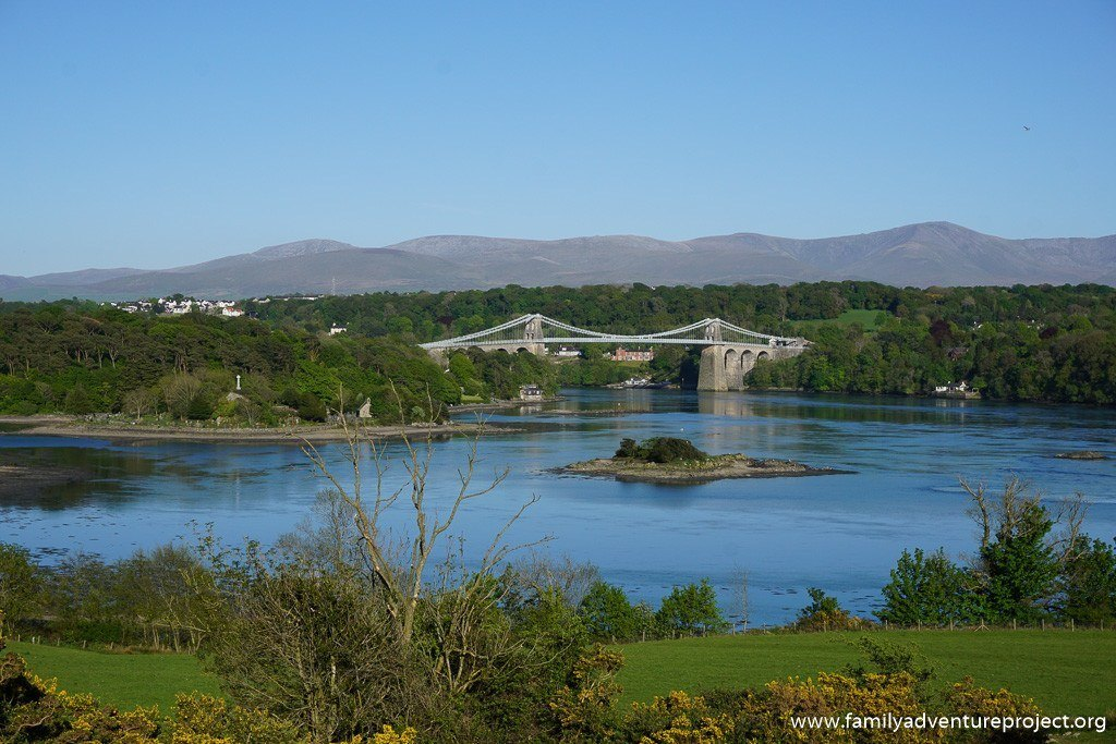 Looking over to Menai Bridge and Snowdonia from the coast road on Anglesey