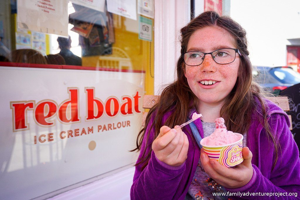 Enjoying a gelato at Red Boat Ice Cream Parlour in Beaumaris