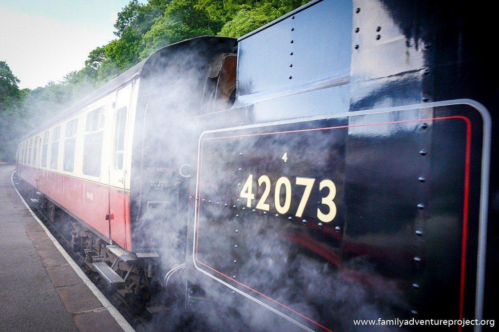 Steam train getting ready to depart at Haverthwaite