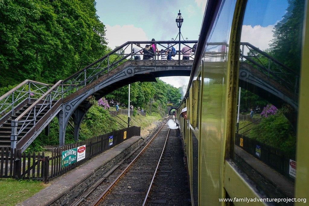 Setting off from Haverthwaite on steam train on Lakeside and Haverthwaite Railway